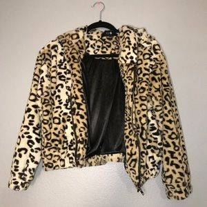 Leopard Print Hooded Jacket